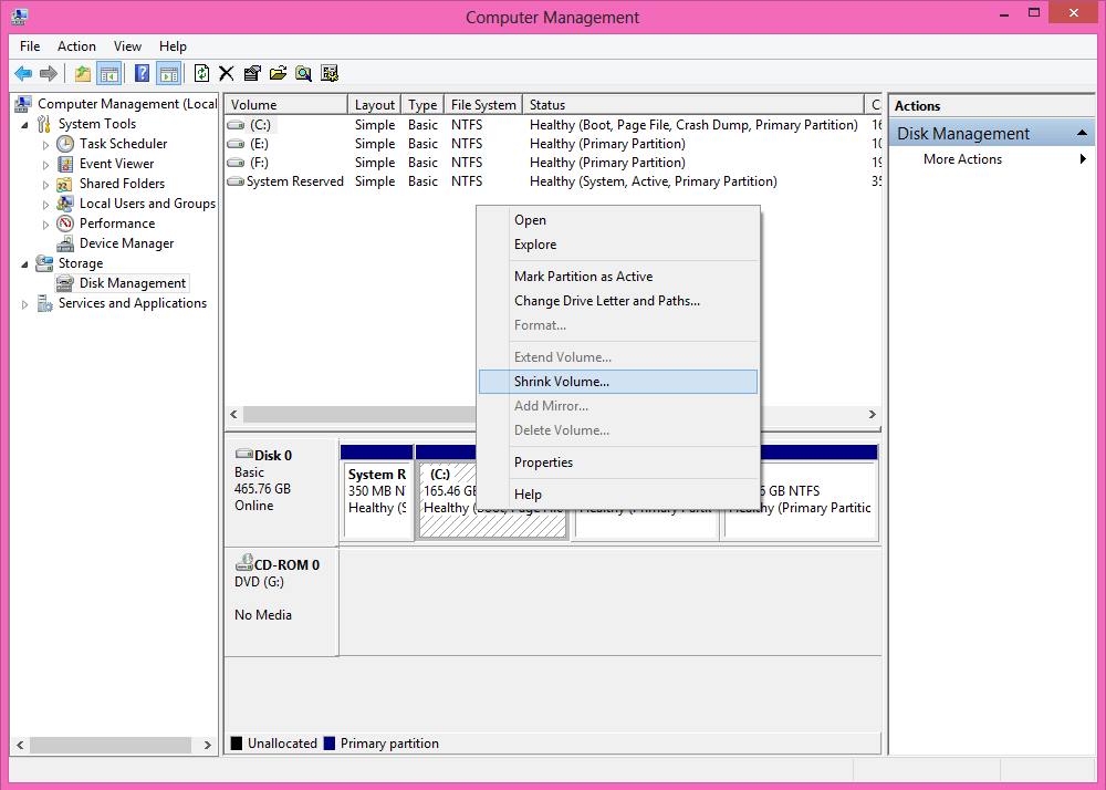 Shring Partation using windows Partation manager